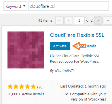 Cloudflare Flexible SSL Plugin Activate