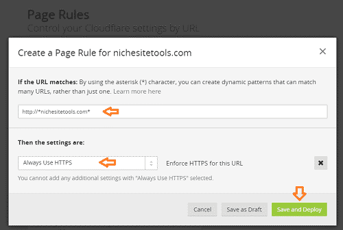 Cloudflare Create Page Rule